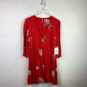 (NWT) Free People 3/4 Sleeve Red Floral Dress